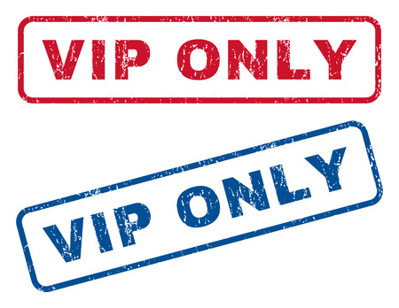 honored: Vip Only text rubber seal stamp watermarks. Vector style is blue and red ink tag inside rounded rectangular banner. Grunge design and dirty texture. Blue and red emblems. Illustration