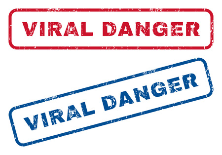 epidemy: Viral Danger text rubber seal stamp watermarks. Vector style is blue and red ink caption inside rounded rectangular shape. Grunge design and dirty texture. Blue and red stickers.