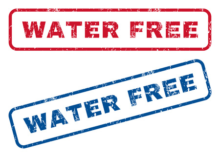 Water Free text rubber seal stamp watermarks. Vector style is blue and red ink caption inside rounded rectangular shape. Grunge design and dust texture. Blue and red emblems.