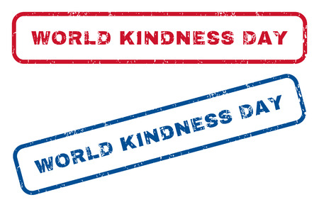 kindness: World Kindness Day text rubber seal stamp watermarks. Vector style is blue and red ink tag inside rounded rectangular banner. Grunge design and unclean texture. Blue and red emblems. Illustration