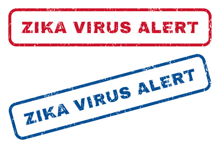 biohazard: Zika Virus Alert text rubber seal stamp watermarks. style is blue and red ink caption inside rounded rectangular shape. Grunge design and dust texture. Blue and red emblems.