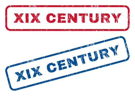 Xix Century text rubber seal stamp watermarks. Vector style is blue and red ink tag inside rounded rectangular shape. Grunge design and scratched texture. Blue and red stickers.