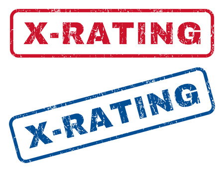 x rated: X-Rating text rubber seal stamp watermarks. Vector style is blue and red ink caption inside rounded rectangular banner. Grunge design and dirty texture. Blue and red signs. Illustration