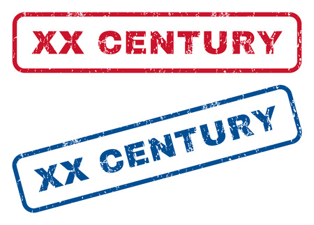 Xx Century text rubber seal stamp watermarks. Vector style is blue and red ink caption inside rounded rectangular shape. Grunge design and dirty texture. Blue and red emblems. Illustration