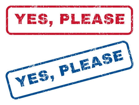 enable: Yes, Please text rubber seal stamp watermarks. style is blue and red ink caption inside rounded rectangular banner. Grunge design and scratched texture. Blue and red emblems.