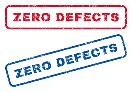 defects: Zero Defects text rubber seal stamp watermarks. style is blue and red ink caption inside rounded rectangular shape. Grunge design and unclean texture. Blue and red signs.