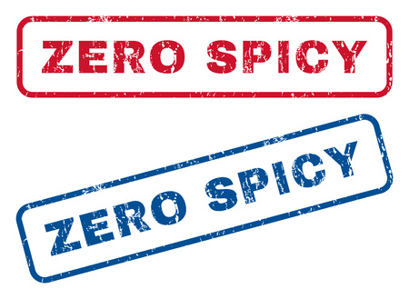 Zero Spicy text rubber seal stamp watermarks. style is blue and red ink tag inside rounded rectangular shape. Grunge design and dirty texture. Blue and red stickers.