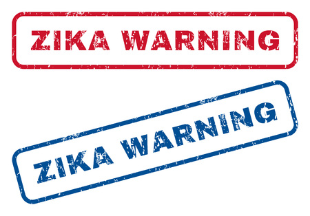 quarantine: Zika Warning text rubber seal stamp watermarks. style is blue and red ink caption inside rounded rectangular banner. Grunge design and unclean texture. Blue and red emblems.