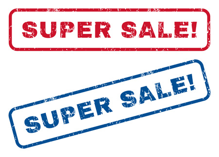 sensational: Super Sale! text rubber seal stamp watermarks. style is blue and red ink tag inside rounded rectangular banner. Grunge design and unclean texture. Blue and red signs. Illustration