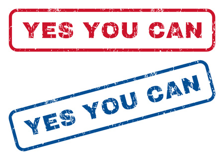 can yes you can: Yes You Can text rubber seal stamp watermarks. Vector style is blue and red ink tag inside rounded rectangular banner. Grunge design and dust texture. Blue and red signs.