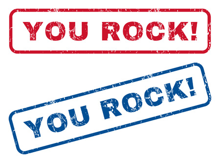 You Rock! text rubber seal stamp watermarks. style is blue and red ink tag inside rounded rectangular banner. Grunge design and dirty texture. Blue and red signs.
