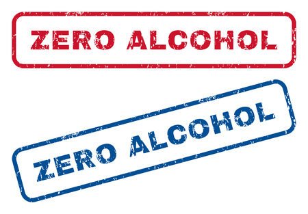 nil: Zero Alcohol text rubber seal stamp watermarks. style is blue and red ink caption inside rounded rectangular banner. Grunge design and unclean texture. Blue and red emblems.