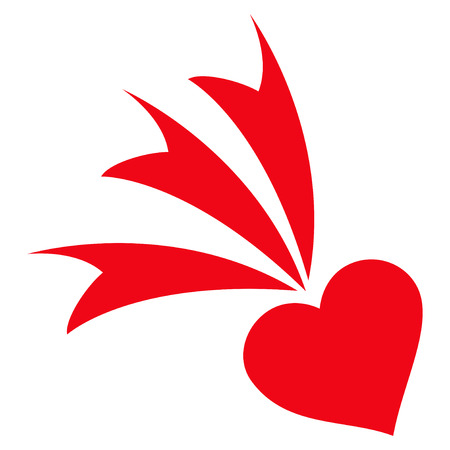 Falling Heart flat icon. Vector red symbol. Pictograph is isolated on a white background. Trendy flat style illustration for web site design, logo, ads, apps, user interface. Illustration