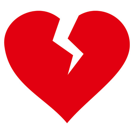 Heart Break flat icon. Vector red symbol. Pictograph is isolated on a white background. Trendy flat style illustration for web site design, logo, ads, apps, user interface.