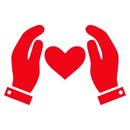 Love Heart Care Hands flat icon. Vector red symbol. Pictogram is isolated on a white background. Trendy flat style illustration for web site design, logo, ads, apps, user interface. Illustration