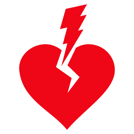 Love Heart Crash flat icon. Vector red symbol. Pictograph is isolated on a white background. Trendy flat style illustration for web site design, logo, ads, apps, user interface.