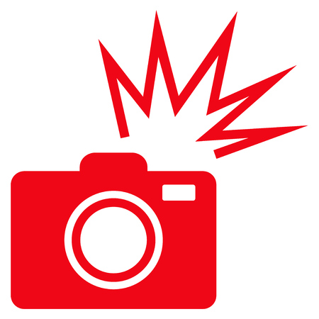 Camera Flash flat icon. Vector red symbol. Pictogram is isolated on a white background. Trendy flat style illustration for web site design,  , ads, apps, user interface. Illustration