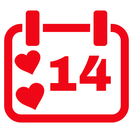 Valentine Calendar Day flat icon. Vector red symbol. Pictogram is isolated on a white background. Trendy flat style illustration for web site design,  , ads, apps, user interface.