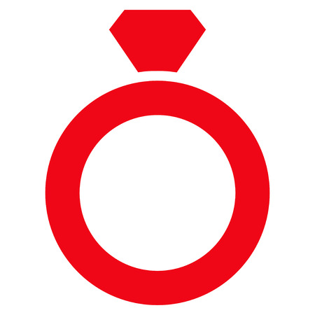 Diamond Ring flat icon. Vector red symbol. Pictogram is isolated on a white background. Trendy flat style illustration for web site design, logo, ads, apps, user interface. Illustration