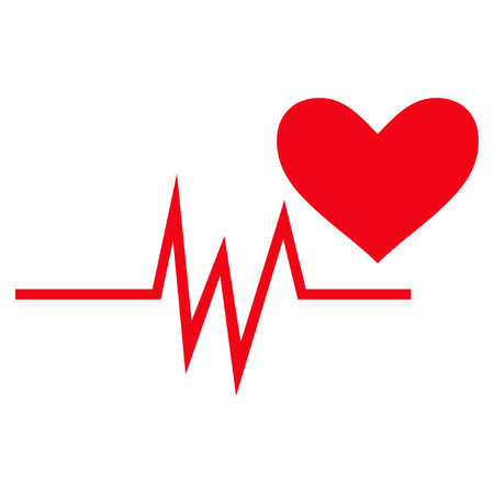 pulsating: Heart Pulse Signal flat icon. Vector red symbol. Pictogram is isolated on a white background. Trendy flat style illustration for web site design, logo, ads, apps, user interface.