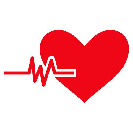 Heart Pulse flat icon. Vector red symbol. Pictograph is isolated on a white background. Trendy flat style illustration for web site design, logo, ads, apps, user interface. Illustration