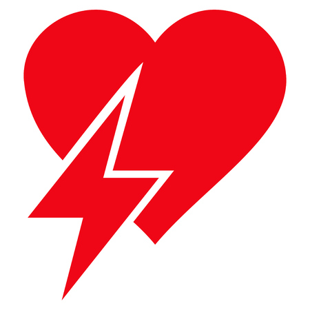 Heart Shock flat icon. Vector red symbol. Pictograph is isolated on a white background. Trendy flat style illustration for web site design, logo, ads, apps, user interface. Illustration