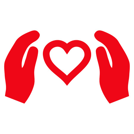 Love Care Hands flat icon. Vector red symbol. Pictogram is isolated on a white background. Trendy flat style illustration for web site design,  , ads, apps, user interface.