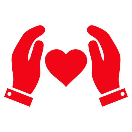 Love Care Hands flat icon. Vector red symbol. Pictograph is isolated on a white background. Trendy flat style illustration for web site design,  , ads, apps, user interface.