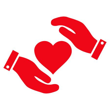 Liebe Heart Care Hands flache Symbol. Vector rotes Symbol. Piktogramm wird auf einem weißen Hintergrund lokalisiert. Modische flache Artillustration für Websiteentwurf, Logo, Anzeigen, apps, Benutzerschnittstelle.