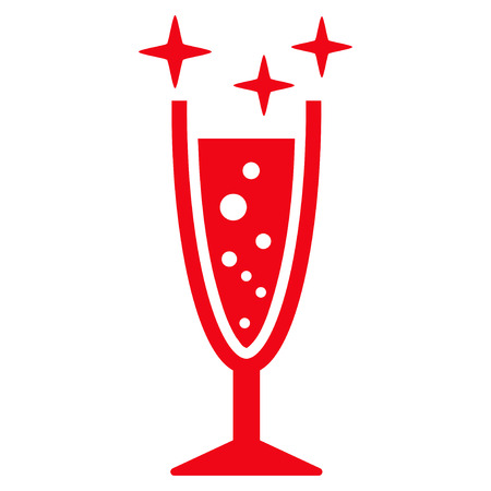 aerated: Sparkle Wine Glass flat icon. Vector red symbol. Pictogram is isolated on a white background. Trendy flat style illustration for web site design,  , ads, apps, user interface. Illustration
