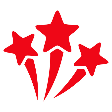 Star Fireworks flat icon. Vector red symbol. Pictograph is isolated on a white background. Trendy flat style illustration for web site design,  , ads, apps, user interface.
