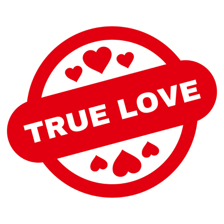 True Love Stamp Seal flat icon. Vector red symbol. Pictogram is isolated on a white background. Trendy flat style illustration for web site design,  , ads, apps, user interface. Illustration