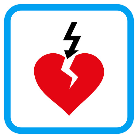 Break Heart vector icon. Image style is a flat icon symbol in a rounded square blue frame.