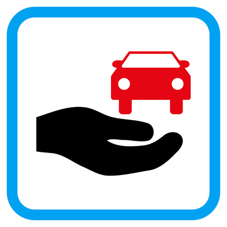 Car Gift Hand vector icon. Image style is a flat pictogram symbol inside a rounded square blue frame.