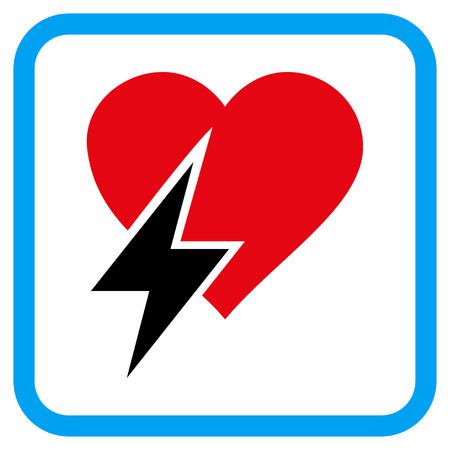 heartbreak issues: Heart Shock vector icon. Image style is a flat iconic symbol inside a rounded square blue frame. Illustration