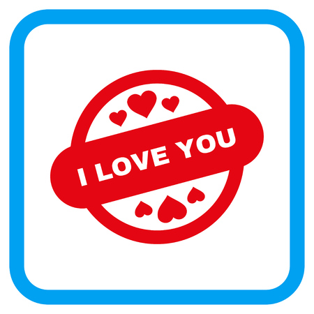 rectangulo: I Love You Stamp Seal vector icon. Image style is a flat icon symbol in a rounded square blue frame.