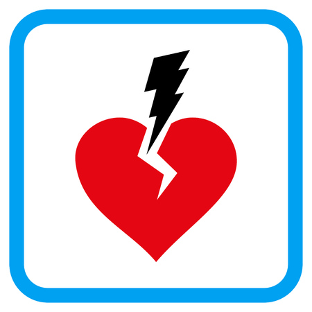 Love Heart Crash vector icon. Image style is a flat pictograph symbol in a rounded square blue frame. Illustration