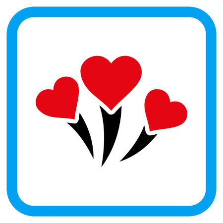 Love Heart Fireworks vector icon. Image style is a flat icon symbol in a rounded square blue frame.