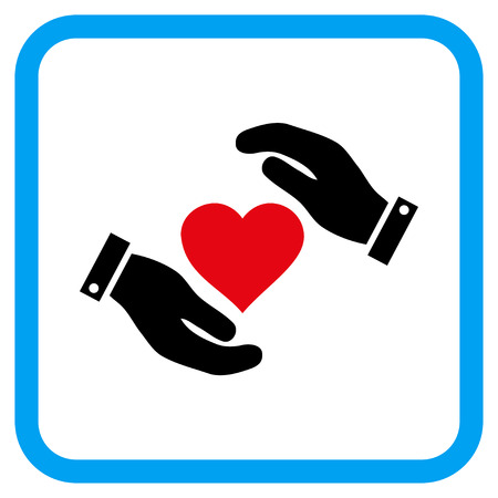 Love Heart Care Hands vector icon. Image style is a flat pictograph symbol in a rounded square blue frame. Illustration