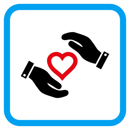 Love Heart Care Hands vector icon. Image style is a flat pictogram symbol in a rounded square blue frame.