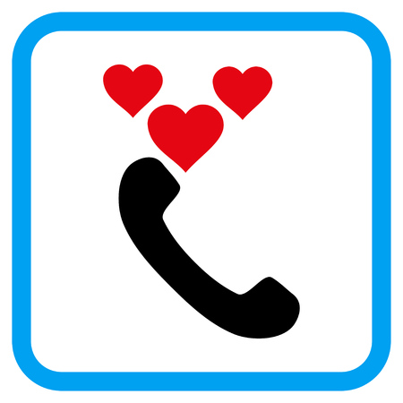 Love Phone Call vector icon. Image style is a flat icon symbol inside a rounded square blue frame. Illustration