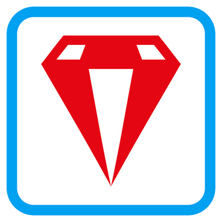 Diamond vector icon. Image style is a flat icon symbol in a rounded square blue frame.