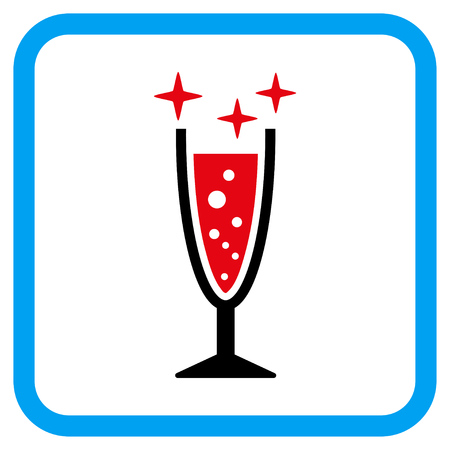 aerated: Sparkle Wine Glass vector icon. Image style is a flat iconic symbol inside a rounded square blue frame.