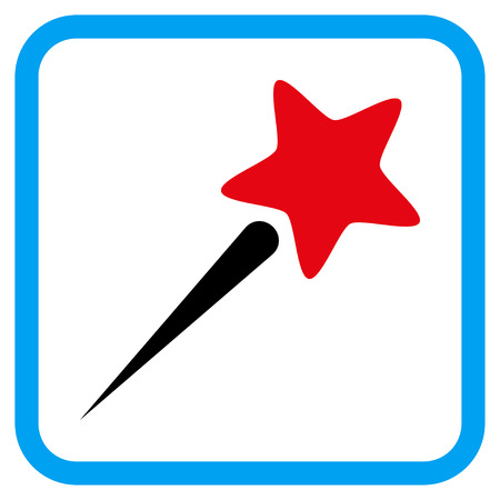 Flying Star vector icon. Image style is a flat pictograph symbol inside a rounded square blue frame.