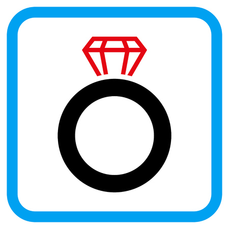 karat: Gem Ring vector icon. Image style is a flat iconic symbol inside a rounded square blue frame. Illustration