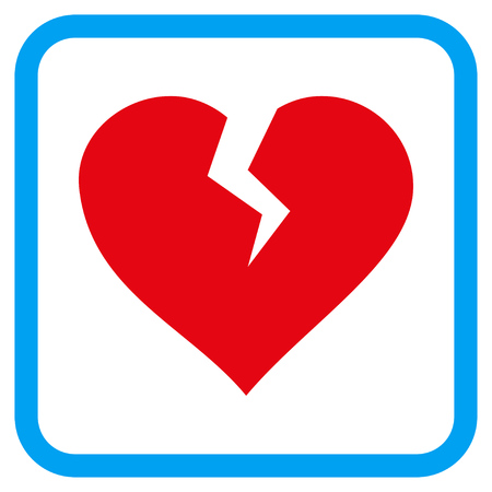 break in: Heart Break vector icon. Image style is a flat pictogram symbol in a rounded square blue frame.