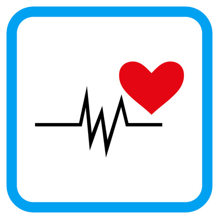 Heart Pulse Signal vector icon. Image style is a flat icon symbol inside a rounded square blue frame. Illustration