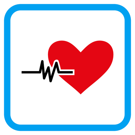 Heart Pulse vector icon. Image style is a flat icon symbol in a rounded square blue frame.