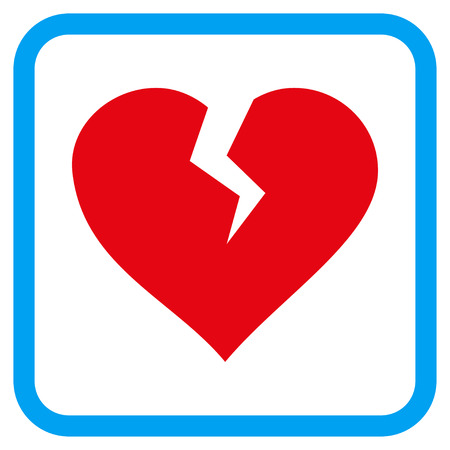 heartbreak issues: Heart Break vector icon. Image style is a flat pictogram symbol in a rounded square blue frame.