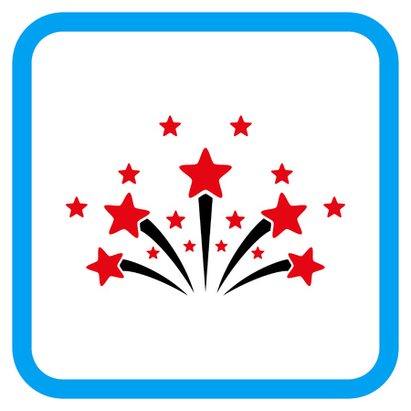 fire crackers: Star Fireworks vector icon. Image style is a flat icon symbol in a rounded square blue frame.